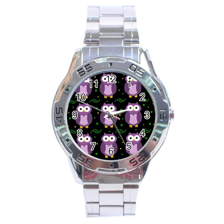 Halloween purple owls pattern Stainless Steel Analogue Watch