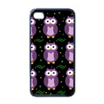Halloween purple owls pattern Apple iPhone 4 Case (Black) Front