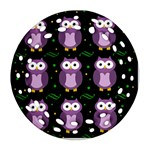 Halloween purple owls pattern Ornament (Round Filigree)  Front