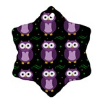 Halloween purple owls pattern Ornament (Snowflake)  Front