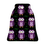 Halloween purple owls pattern Ornament (Bell)  Front