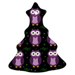 Halloween purple owls pattern Christmas Tree Ornament (2 Sides) Front