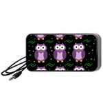 Halloween purple owls pattern Portable Speaker (Black)  Front