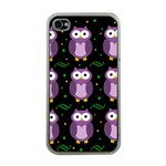 Halloween purple owls pattern Apple iPhone 4 Case (Clear) Front