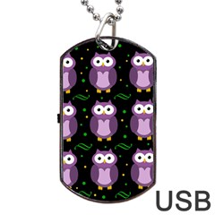 Halloween purple owls pattern Dog Tag USB Flash (Two Sides)