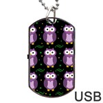 Halloween purple owls pattern Dog Tag USB Flash (Two Sides)  Front