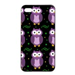 Halloween purple owls pattern Apple iPhone 4/4s Seamless Case (Black) Front
