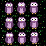 Halloween purple owls pattern MOM 3D Greeting Card (8x4) Inside