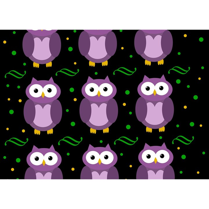 Halloween purple owls pattern Birthday Cake 3D Greeting Card (7x5)