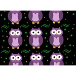 Halloween purple owls pattern Birthday Cake 3D Greeting Card (7x5) Back