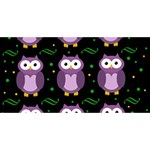 Halloween purple owls pattern Happy New Year 3D Greeting Card (8x4) Front