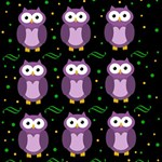 Halloween purple owls pattern Happy New Year 3D Greeting Card (8x4) Inside