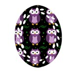 Halloween purple owls pattern Oval Filigree Ornament (2-Side)  Back