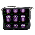 Halloween purple owls pattern Messenger Bags Front