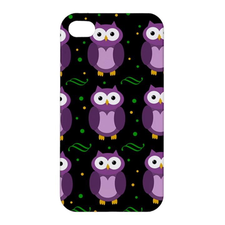 Halloween purple owls pattern Apple iPhone 4/4S Premium Hardshell Case