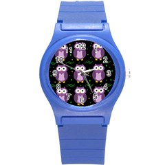 Halloween Purple Owls Pattern Round Plastic Sport Watch (s)