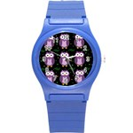 Halloween purple owls pattern Round Plastic Sport Watch (S) Front