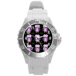 Halloween purple owls pattern Round Plastic Sport Watch (L) Front