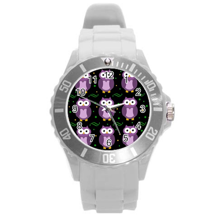 Halloween purple owls pattern Round Plastic Sport Watch (L)
