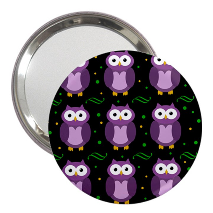 Halloween purple owls pattern 3  Handbag Mirrors