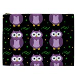 Halloween purple owls pattern Cosmetic Bag (XXL)  Front