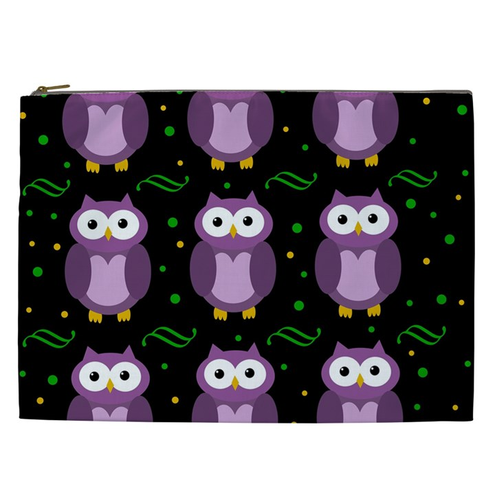 Halloween purple owls pattern Cosmetic Bag (XXL)