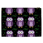 Halloween purple owls pattern Cosmetic Bag (XXL)  Back