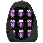 Halloween purple owls pattern Backpack Bag Front
