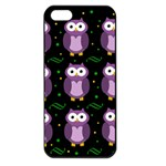 Halloween purple owls pattern Apple iPhone 5 Seamless Case (Black) Front