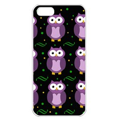 Halloween Purple Owls Pattern Apple Iphone 5 Seamless Case (white)