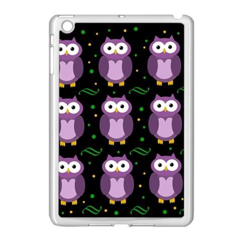 Halloween purple owls pattern Apple iPad Mini Case (White)