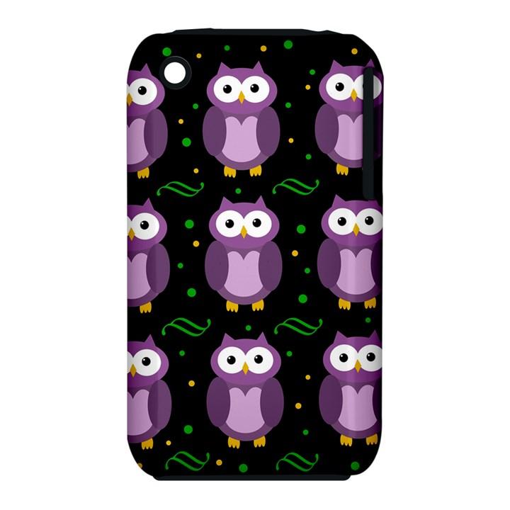 Halloween purple owls pattern Apple iPhone 3G/3GS Hardshell Case (PC+Silicone)