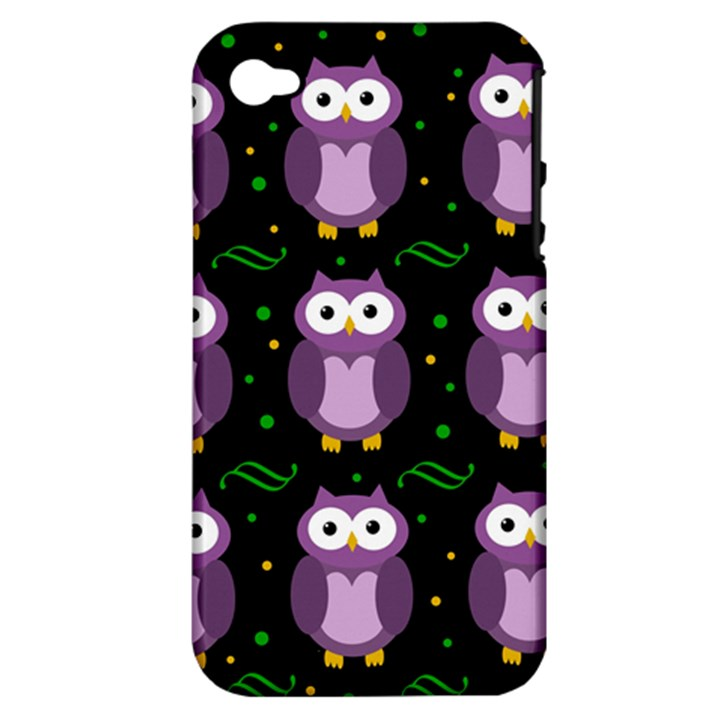 Halloween purple owls pattern Apple iPhone 4/4S Hardshell Case (PC+Silicone)