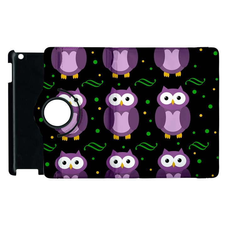 Halloween purple owls pattern Apple iPad 3/4 Flip 360 Case