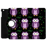 Halloween purple owls pattern Apple iPad Mini Flip 360 Case Front
