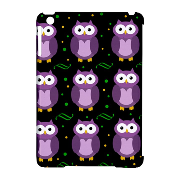 Halloween purple owls pattern Apple iPad Mini Hardshell Case (Compatible with Smart Cover)