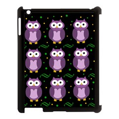 Halloween purple owls pattern Apple iPad 3/4 Case (Black)