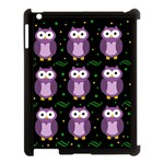 Halloween purple owls pattern Apple iPad 3/4 Case (Black) Front