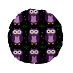 Halloween purple owls pattern Standard 15  Premium Round Cushions Back