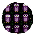 Halloween purple owls pattern Large 18  Premium Round Cushions Front