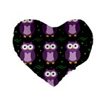 Halloween purple owls pattern Standard 16  Premium Heart Shape Cushions Front