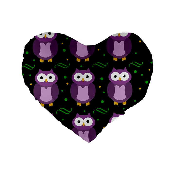 Halloween purple owls pattern Standard 16  Premium Heart Shape Cushions