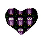 Halloween purple owls pattern Standard 16  Premium Heart Shape Cushions Back