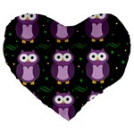 Halloween purple owls pattern Large 19  Premium Heart Shape Cushions Front