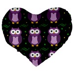Halloween purple owls pattern Large 19  Premium Heart Shape Cushions Back