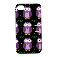 Halloween Purple Owls Pattern Apple Iphone 4/4s Hardshell Case With Stand