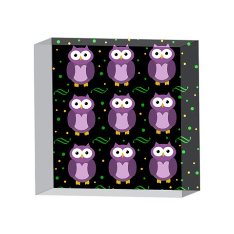 Halloween purple owls pattern 4 x 4  Acrylic Photo Blocks