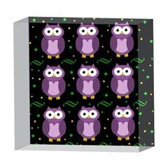Halloween purple owls pattern 5  x 5  Acrylic Photo Blocks