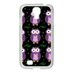 Halloween purple owls pattern Samsung GALAXY S4 I9500/ I9505 Case (White) Front