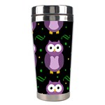 Halloween purple owls pattern Stainless Steel Travel Tumblers Right